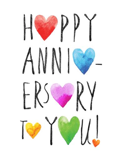 happy anniversary hearts card cover - Happy Anniversary Cards
