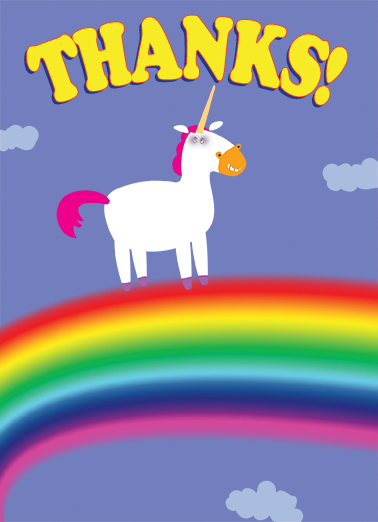 """funny thank you card  """"thanks unicorn"""" from cardfool"""