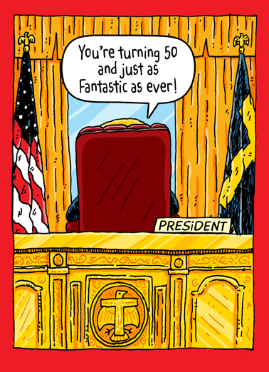 Funny Birthday Card Trump Oval Office 50th From Cardfool